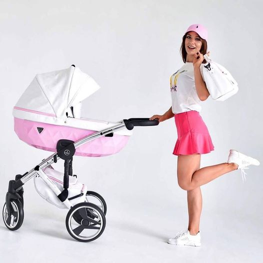 Junama Candy - pink bassinet, white top, silver frame